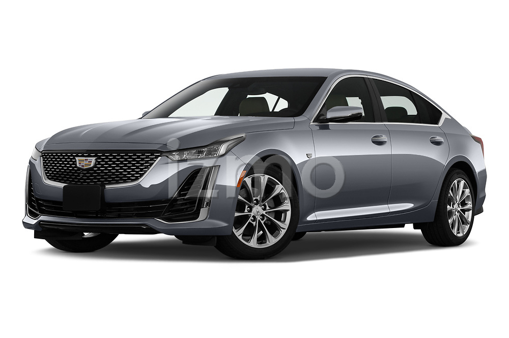 Stock pictures of low aggressive front three quarter view of 2020 Cadillac CT5 Premium-Luxury 4 Door Sedan Low Aggressive