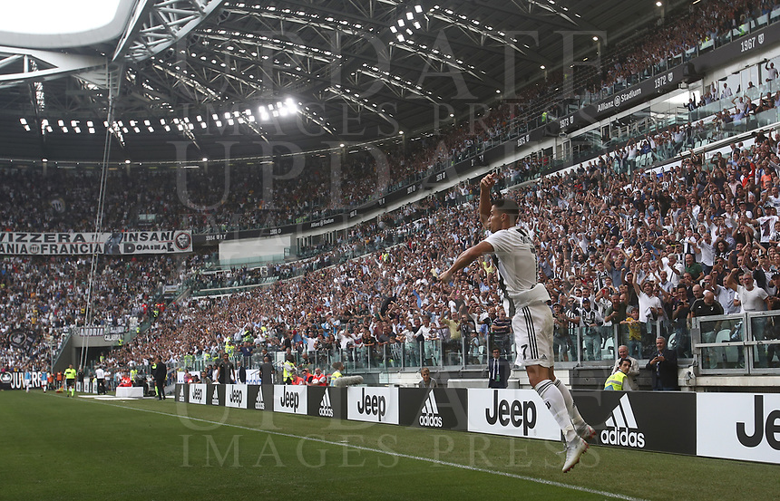Calcio, Serie A: Juventus - Sassuolo, Turin, Allianz Stadium, September 16, 2018.<br /> Juventus' Cristiano Ronaldo celebrates after scoring his second goal during the Italian Serie A football match between Juventus and  Sassuolo at Torino's Allianz stadium, September 16, 2018.<br /> UPDATE IMAGES PRESS/Isabella Bonotto