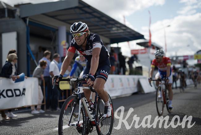 winner of the previous stage Jonas Van Genechten (BEL/IAM) crossing the finish line<br /> <br /> Tour de Wallonie 2015<br /> stage 5: Chimay - Thuin (