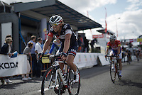 winner of the previous stage Jonas Van Genechten (BEL/IAM) crossing the finish line<br /> <br /> Tour de Wallonie 2015<br /> stage 5: Chimay - Thuin (