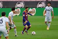 19th December 2020; Camp Nou, Barcelona, Catalonia, Spain; La Liga Football, Barcelona versus Valencia;  Leo Messi takes on Sole of Valencia on the top of the box