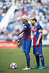 Neymar JR and Lionel Messi of FC Barcelona react during their La Liga match between Deportivo Leganes and FC Barcelona at the Butarque Municipal Stadium on 17 September 2016 in Madrid, Spain. Photo by Diego Gonzalez Souto / Power Sport Images