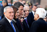 Da sinistra, il Presidente del Senato Pietro Grasso, la Presidente della Camera dei Deputati Laura Boldrini, il Presidente del Consiglio Matteo Renzi e il Presidente della Repubblica Sergio Mattarella all'Altare della Patria in occasione di una cerimonia per la celebrazione della Giornata delle Forze Armate, a Roma, 4 novembre 2015.<br /> From left, Italy's Senate President Pietro Grasso, Lower Chamber of Deputies' President Laura Boldrini, Premier Matteo Renzi and President Sergio Mattarella attend a ceremony for the Italian Armed Forces Day marking the anniversary of the end of World War I for Italy, in Rome, 4 November 2015.<br /> UPDATE IMAGES PRESS/Riccardo De Luca