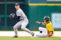 Shortstop Derek Hamilton #4 of the Rice Owls tries to turn a double play as Jake Miller #20 of the Baylor Bears slides into second base at Minute Maid Park on March 6, 2011 in Houston, Texas.  Photo by Brian Westerholt / Four Seam Images