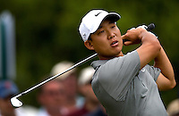 PGA golfer Anthony Kim watches his approach shot during the 2008 Wachovia Championships at Quail Hollow Country Club in Charlotte, NC.
