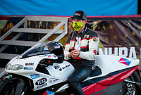 Nov 1, 2020; Las Vegas, Nevada, USA; NHRA pro stock motorcycle rider Steve Johnson during the NHRA Finals at The Strip at Las Vegas Motor Speedway. Mandatory Credit: Mark J. Rebilas-USA TODAY Sports