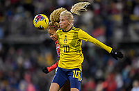 COLUMBUS, OH - NOVEMBER 07: Sofia Jakobsson #10 of Sweden and Casey Short #26 of the USA battle for a ball during a game between Sweden and USWNT at MAPFRE Stadium on November 07, 2019 in Columbus, Ohio.