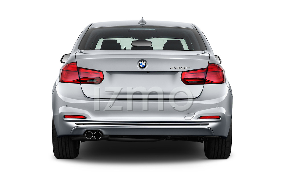 Straight rear view of 2017 BMW 3-Series-Plug-In-Hybrid Sport 4 Door Sedan Rear View  stock images