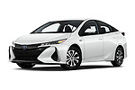 Stock pictures of low aggressive front three quarter view of a 2020 Toyota Prius-Prime XLE 5 Door Hatchback