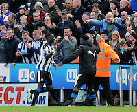 Moussa Sissoko of Newcastle United celebrates scoring their second goal with Cheik Tiote of Newcastle United during the Barclays Premier League match between Newcastle United and Swansea City played at St. James' Park, Newcastle upon Tyne, on the 16th April 2016