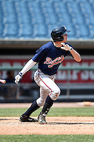 Seth Beer (25) of Lambert High School in Suwanee, Georgia playing for the Atlanta Braves scout team during the East Coast Pro Showcase on August 2, 2014 at NBT Bank Stadium in Syracuse, New York.  (Mike Janes/Four Seam Images)