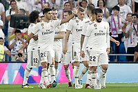 Real Madrid's players celebrate goal during La Liga match. August 19,2018.  *** Local Caption *** © pixathlon<br /> Contact: +49-40-22 63 02 60 , info@pixathlon.de