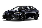 Stock pictures of low aggressive front three quarter view of 2021 Toyota Camry-Hybrid XSE 4 Door Sedan Low Aggressive
