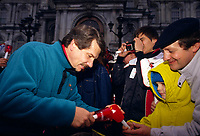 File Photo - Montreal Mayor Jean Dore share the Olympic in front of City Hall on December 12, 1987.<br /> <br /> Dore has been told he as a terminal pancreas cancer and 3 weeks to live , this September 2014.<br /> <br /> File Photo : Agence Quebec Pressse  - Pierre Roussel