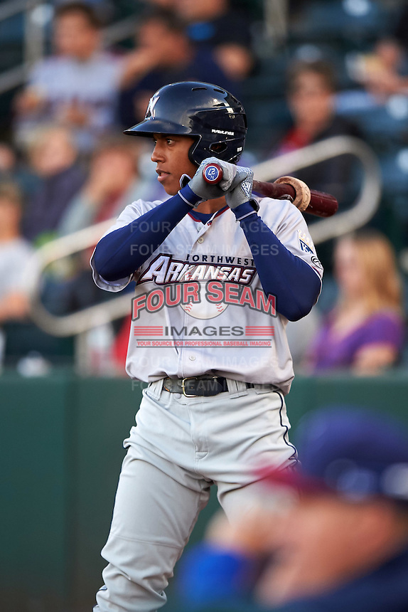 Northwest Arkansas Naturals second baseman Raul Mondesi (27) on deck during a game against the Springfield Cardinals on April 26, 2016 at Hammons Field in Springfield, Missouri.  Northwest Arkansas defeated Springfield 5-2.  (Mike Janes/Four Seam Images)