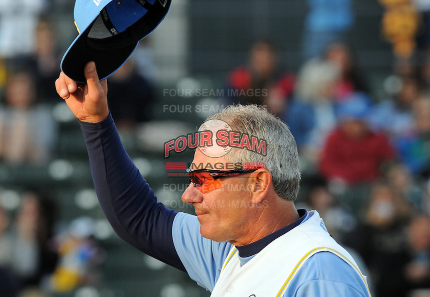 April 9, 2009: The Myrtle Beach Pelicans manager Rocket Wheeler tips his cap to the crowd as he is recognized for his record-setting wins in 2008 in pregame ceremonies  at BB&T Coastal Field in Myrtle Beach, S.C. Photo by:  Tom Priddy/Four Seam Images