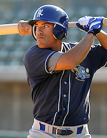 April 10, 2009: Adrian Ortiz of the Wilmington Blue Rocks, Class A affiliate of the Kansas City Royals, prior to a game against the Myrtle Beach Pelicans at BB&T Coastal Field in Myrtle Beach, S.C. Photo by:  Tom Priddy/Four Seam Images