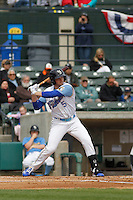 Myrtle Beach Pelicans second baseman Ian Happ (5) at bat during a game against the Frederick Keys at Ticketreturn.com Field at Pelicans Ballpark on April 10, 2016 in Myrtle Beach, South Carolina. Myrtle Beach defeated Frederick 7-5. (Robert Gurganus/Four Seam Images)