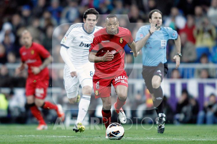 Real Madrid's Kaka and RCD Mallorca's Emilio Nsue Lopez during La Liga BBVA match. March 16, 2013.(ALTERPHOTOS/Alconada)