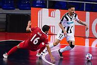 9th October 2020; Palau Blaugrana, Barcelona, Catalonia, Spain; UEFA Futsal Champions League Finals; Mrucia FS versus MFK Tyumen;   Vilian lourenço cuts away from Gomez