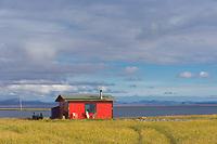 Native fish camp along the shore of Safety Sound, Seward Peninsula, western Arctic, Alaska.