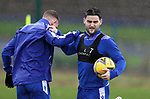 St Johnstone Training…<br />Craig Conway pictured with Callum Hendry during training at McDiarmid Park ahead of Saturdays game against Motherwell.<br />Picture by Graeme Hart.<br />Copyright Perthshire Picture Agency<br />Tel: 01738 623350  Mobile: 07990 594431