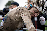A less fortunate, mudded & blooded Ellen van Dijk (NED/Trek-Segafredo) post-race<br /> <br /> Inaugural Paris-Roubaix Femmes 2021 (1.WWT)<br /> One day race from Denain to Roubaix (FRA)(116.4km)<br /> <br /> ©kramon