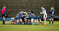 12th February 2021; AJ Bell Stadium, Salford, Lancashire, England; English Premiership Rugby, Sale Sharks versus Bath; A Bath scrum with  Ben Spencer of Bath Rugby preparing to put the ball in as Faf de Klerk of Sale Sharks watches on