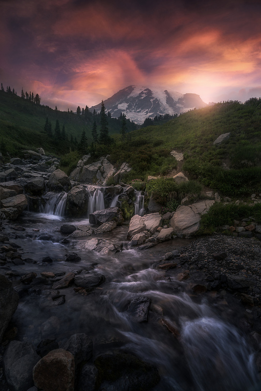 Last light over Mount Rainier. Mount Rainier National Park, WA