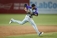 Winston-Salem Dash third baseman Johan Cruz (13) on defense against the Greensboro Grasshoppers at First National Bank Field on June 3, 2021 in Greensboro, North Carolina. (Brian Westerholt/Four Seam Images)