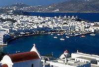 Mykonos, Greece, Greek Islands, Cyclades, Europe, Scenic view of Mykonos Harbor on the Aegean Sea.