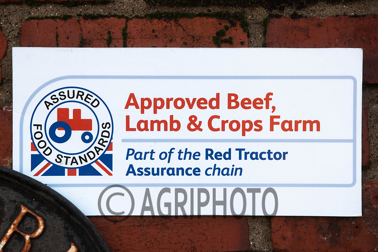 18-2-2021 Red tractor approved Beef, Lamb & Crops sign in a farmyard <br /> ©Tim Scrivener Photographer 07850 303986<br />      ....Covering Agriculture In The UK....