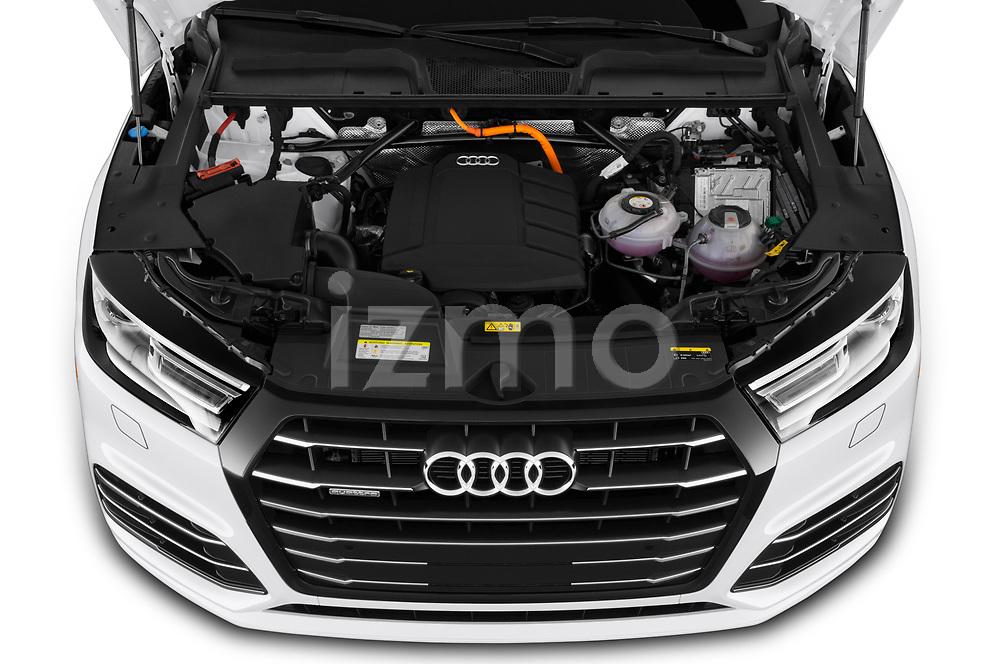 Car stock 2020 Audi Q5 Premium 5 Door SUV engine high angle detail view