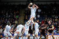 Damian Welch of Exeter Chiefs jumps to win a lineout during the Aviva Premiership match between London Wasps and Exeter Chiefs at Adams Park on Sunday 21st April 2013 (Photo by Rob Munro)