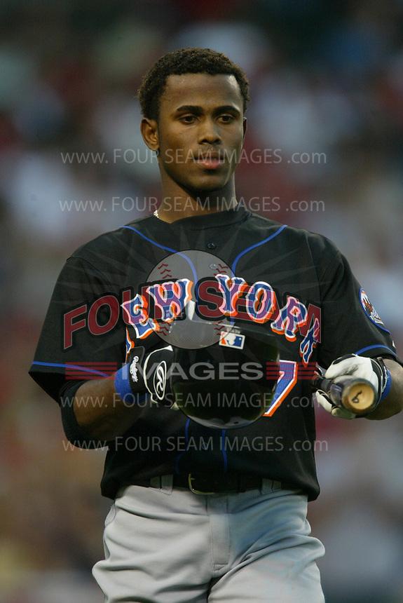 Jose Reyes of the New York Mets during a 2003 season MLB game at Angel Stadium in Anaheim, California. (Larry Goren/Four Seam Images)
