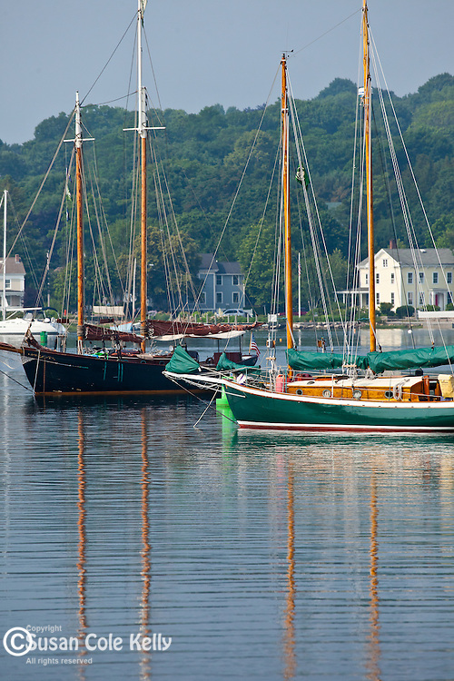 Boats on the Mystic River, Mystic, CT, USA