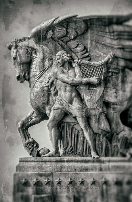 """Memorial Bridge Statues Washington DC<br /> """"The Arts of Peace"""" Black and White Photography Washington DC Art - - Framed Prints - Wall Murals - Metal Prints - Aluminum Prints - Canvas Prints - Fine Art Prints Washington DC Landmarks Monuments Architecture"""