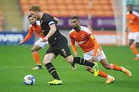 Milton Keynes Dons' Dean Lewington under pressure from Blackpool's CJ Hamilton<br /> <br /> Photographer Kevin Barnes/CameraSport<br /> <br /> The EFL Sky Bet League One - Blackpool v Milton Keynes Dons - Saturday 24 October 2020 - Bloomfield Road - Blackpool<br /> <br /> World Copyright © 2020 CameraSport. All rights reserved. 43 Linden Ave. Countesthorpe. Leicester. England. LE8 5PG - Tel: +44 (0) 116 277 4147 - admin@camerasport.com - www.camerasport.com