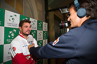 Switserland, Genève, September 17, 2015, Tennis,   Davis Cup, Switserland-Netherlands, Draw, interview with Stan Franker<br /> Photo: Tennisimages/Henk Koster