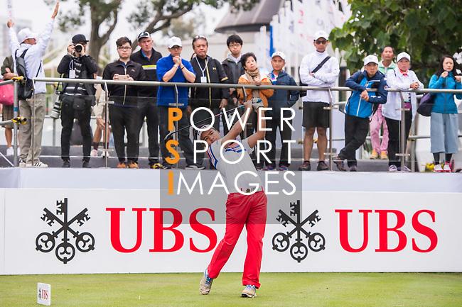 Suradit Yongcharoenchai of Thailand tees off during the day four of UBS Hong Kong Open 2017 at the Hong Kong Golf Club on 26 November 2017, in Hong Kong, Hong Kong. Photo by Marcio Rodrigo Machado / Power Sport Images