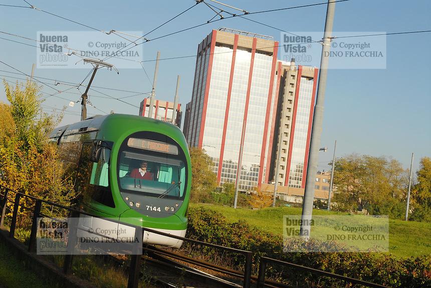 - Milan, terminal of streetcar in the Lorenteggio district....- Milano, capolinea del tram nel quartiere Lorenteggio