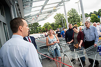 Thursday  21 July 2016<br /> Pictured: Store Manager David Young dresses customers outside the store<br /> Re: ALDI Haverfordwest Grand Re-opening