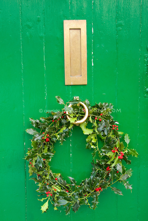 Winter holiday wreath on rustic green house door for Christmas trim decorating outdoors