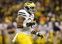 Thomas Gordon of Michigan in action during Sugar Bowl game against Virginia Tech at Mercedes-Benz SuperDome in New Orleans, Louisiana on January 3rd, 2012.  Michigan defeated Virginia Tech, 23-20 in first overtime.