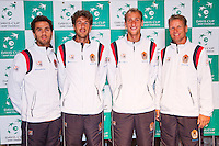 13-09-12, Netherlands, Amsterdam, Tennis, Daviscup Netherlands-Swiss, Draw , Dutch team, l.t.r.: Jean-Julien Rojer, Robin Haase,Thiemo de Bakker and captain Jan Siemerink.