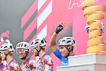 Maglia Azzurra Jonathan Caicedo (ECU) and EF Pro Cycling at sign on before the start of Stage 4 of the 103rd edition of the Giro d'Italia 2020 running 140km from Catania to Villafranca Tirrena, Sicily, Italy. 6th October 2020.  <br /> Picture: LaPresse/Massimo Paolone   Cyclefile<br /> <br /> All photos usage must carry mandatory copyright credit (© Cyclefile   LaPresse/Massimo Paolone)
