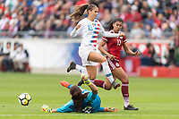 Houston, TX - Sunday April 08, 2018: Alex Morgan, Cecilia Santiago during an International Friendly soccer match between the USWNT and Mexico at BBVA Compass Stadium.