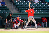 Third baseman Gunnar Henderson (14) of the Aberdeen IronBirds in a game against the Greenville Drive on Sunday, July 11, 2021, at Fluor Field at the West End in Greenville, South Carolina. The catcher is Jaxx Groshans (1) and the umpire is Jose Lozada. (Tom Priddy/Four Seam Images)
