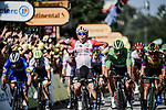 Caleb Ewan (AUS) Lotto-Soudal outsprints Elia Viviani (ITA) Deceuninck-Quick Step and Dylan Groenewegen (NED) Team Jumbo-Visma to win Stage 16 of the 2019 Tour de France running 177km from Nimes to Nimes, France. 23rd July 2019.<br /> Picture: ASO/Pauline Ballet   Cyclefile<br /> All photos usage must carry mandatory copyright credit (© Cyclefile   ASO/Pauline Ballet)