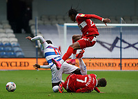 Middlesbrough's Djed Spence and Marcus Tavernier tackle Queens Park Rangers' Olamide Shodipo<br /> <br /> Photographer Stephanie Meek/CameraSport<br /> <br /> The EFL Sky Bet Championship - Queens Park Rangers v Middlesbrough - Saturday 26th September 2020 - Loftus Road - London <br /> <br /> World Copyright © 2020 CameraSport. All rights reserved. 43 Linden Ave. Countesthorpe. Leicester. England. LE8 5PG - Tel: +44 (0) 116 277 4147 - admin@camerasport.com - www.camerasport.com